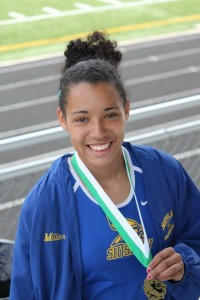 The sophomore hurdler won the Far West District Title for the 100m hurdles and will compete at state as part of Siuslaw's 4x100 relay team. (Photo by Kim Pickell)
