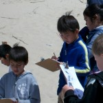 Siuslaw Elementary 2nd grade students from Florence record information about animal track found within the Oregon Dunes NRA during a field trip hosted by the Siuslaw National Forest field rangers, part of the Valuing People and Places program. (U.S.F.S photo)