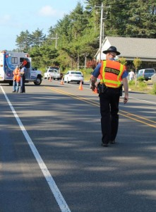 Oregon State Police investigators closed Highway 101 in Yachats for several hours Friday afternoon to investigate a pedestrian fatality.  (Oregon State Police photo)