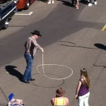 Former calf-roper Dennis Smith showing off in an impromptu performance for spectators Saturday.