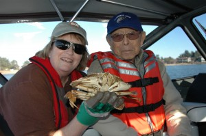 STEP and hospice volunteer Becky Goehring (l) along with Ken Ishibashi with the product of their day on the water January 16th.  (photo provided by Peace Harbor Hospice)