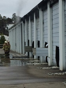Firefighters had to cut through metal doors in the facility to gain access to individual units in order to vent built up heat and smoke and assess the fire spread.