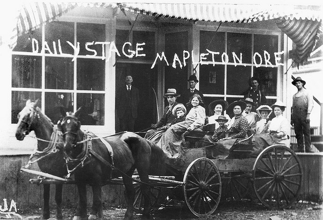 This photograph of Mapleton's daily stagecoach is just one of the historic images to be unveiled at an upcoming open house at the Mapleton branch of the Siuslaw Public Library.