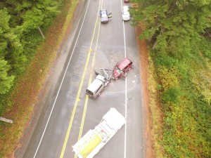 Aerial photo shows results of two vehicle crash Saturday on Highway 101 south of Winchester Bay. (Photo courtesy Mast Brothers Towing)