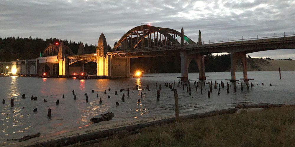 Siuslaw River Bridge at Dusk